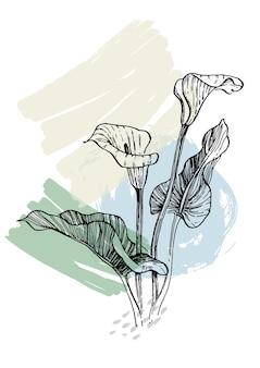 花と幾何学的要素とストローク、葉と花を描く抽象的な手描き。