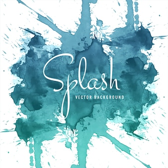 Abstract hand drawn blue watercolor splash background