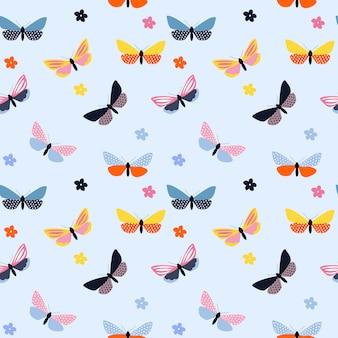 抽象的な手描き蝶のシームレスなパターン。図