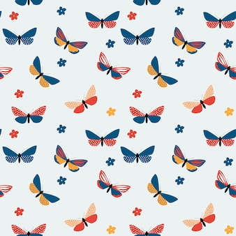 Abstract hand drawn butterfly seamless pattern.  illustration