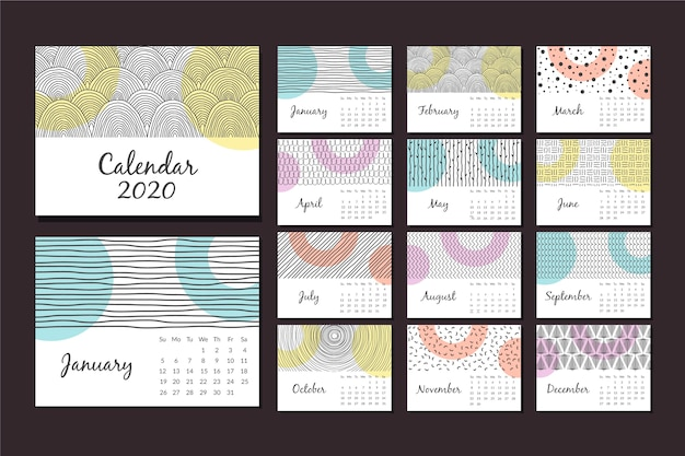 Abstract hand drawn calendar 2020 template set