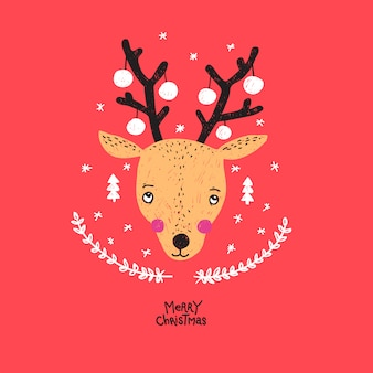 Abstract hand drawn christmas deer illustration