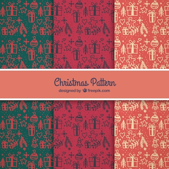 Abstract hand drawn christmas patterns Free Vector