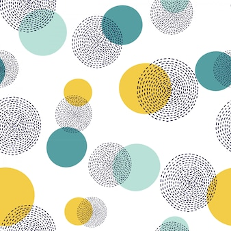 Abstract hand drawn circle pattern. seamless polka dots.