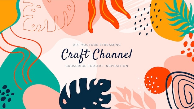 Abstract hand drawn craft youtube channel art