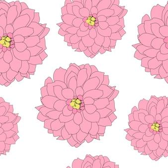 抽象的な手描きのダリアの花のシームレスなパターン。図