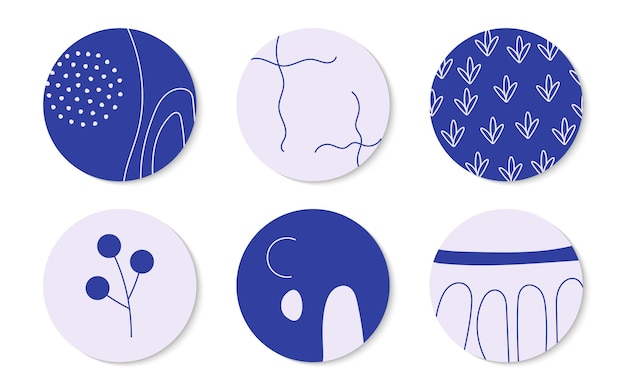 Abstract hand drawn different shapes and textures set round icon template highlight cover for post s...