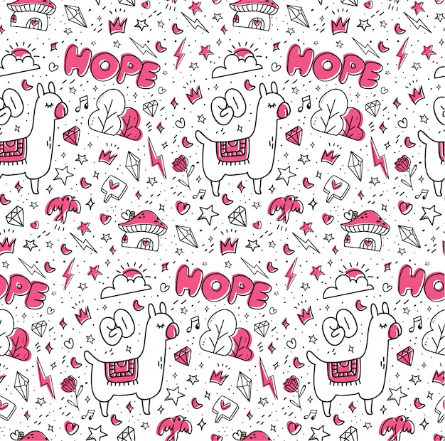 Abstract hand drawn doodles seamless pattern