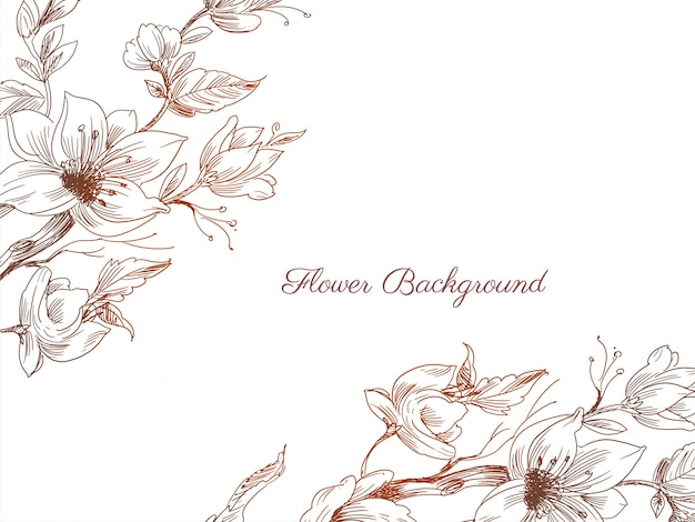 Abstract hand drawn flower decorative background