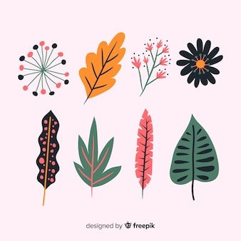 Abstract hand drawn flower and leaf collection