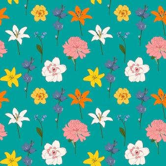 抽象的な手描きの花のシームレスなパターン背景。図