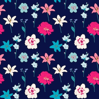 Abstract hand drawn flower seamless pattern background.  illustration