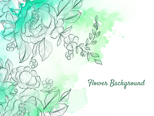 Abstract hand drawn flower soft green pastel background