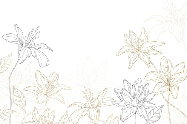 Abstract hand drawn flowers background