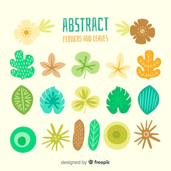 Abstract hand drawn flowers and leaves pack