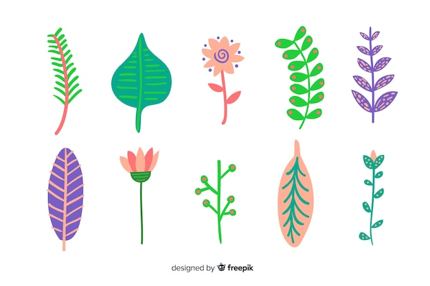 Abstract hand drawn flowers and leaves