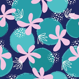 Abstract hand drawn flowers seamless pattern