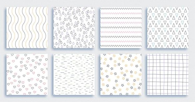 Abstract hand drawn geometric simple minimalist seamless patterns set