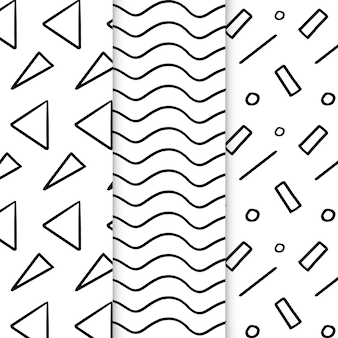 Abstract hand drawn geometrical patterns set