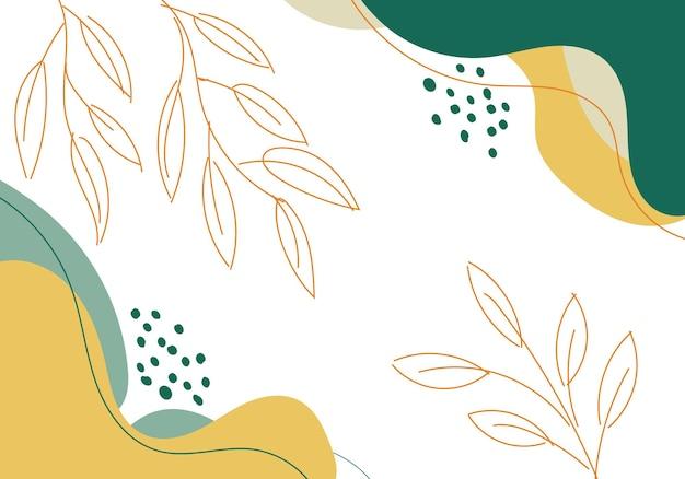 Абстрактная рука нарисованные зеленые и желтые органические формы с линиями листьев на белом фоне. векторная иллюстрация