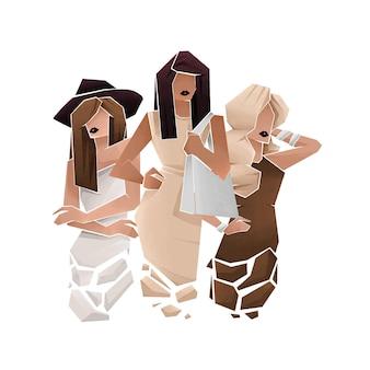 女性の抽象的な手描きのグループ