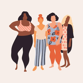 Abstract hand drawn group of women