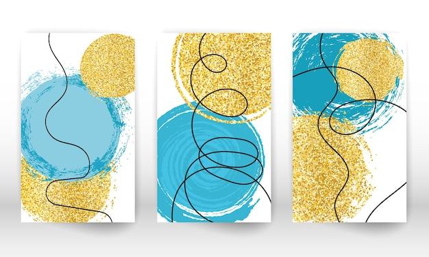 抽象的な手描きの模造水彩効果のデザイン要素。幾何学的な現代アートの形。落書きライン、金色の粒子。