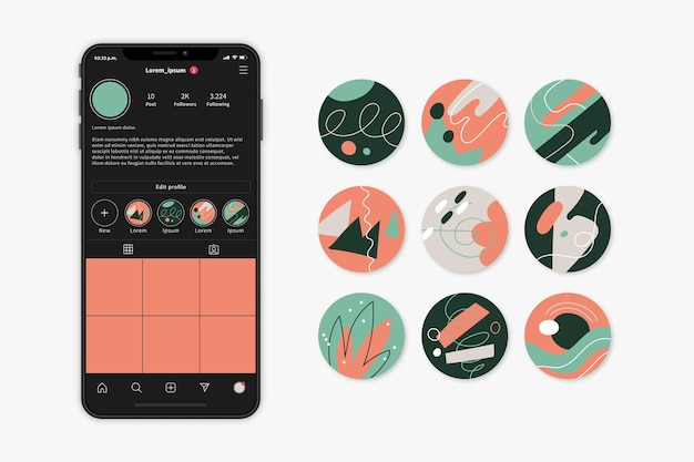 Abstract hand drawn instagram highlights set