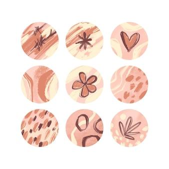 Set di punti salienti di instagram disegnati a mano astratti