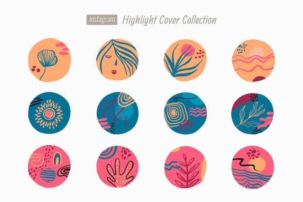 Abstract hand drawn instagram highlights