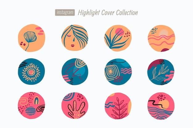 抽象的な手描きのinstagramのハイライト