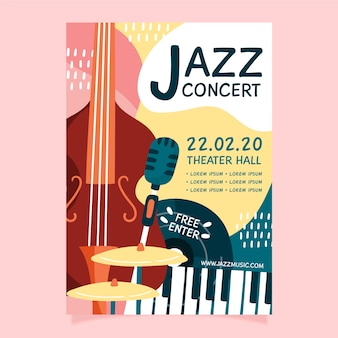 Abstract hand drawn jazz music flyer template