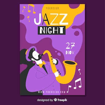 Abstract hand drawn jazz music poster template