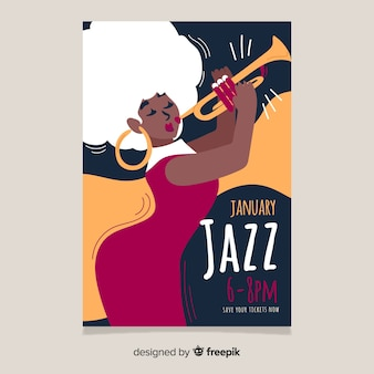 Abstract hand drawn jazz poster template