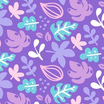 추상 손으로 그린 나뭇잎 패턴