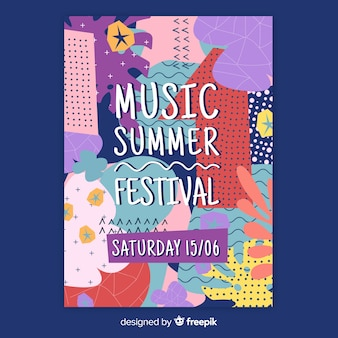 Abstract hand drawn music festival poster template