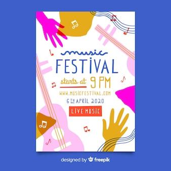 추상 손으로 그린 음악 축제 포스터