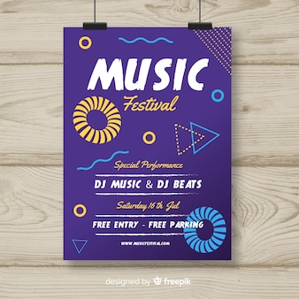 Abstract hand drawn music festival poster