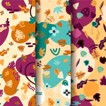 Abstract hand-drawn pattern collection concept