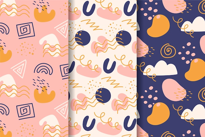 Abstract hand drawn pattern collection