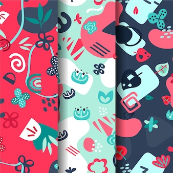 Abstract hand-drawn pattern collection