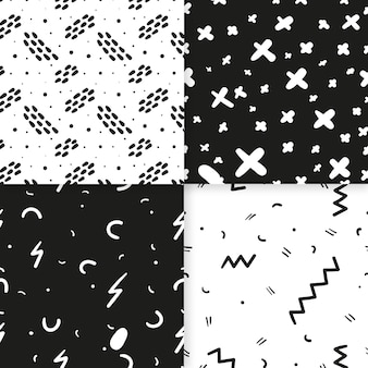 Abstract hand drawn pattern set