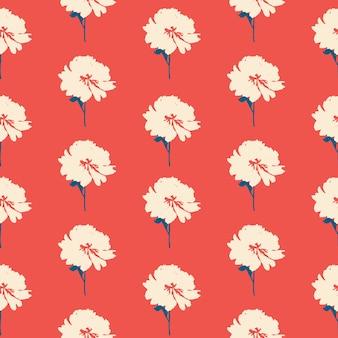 抽象的な手描き牡丹の花のシームレスなパターン背景。図