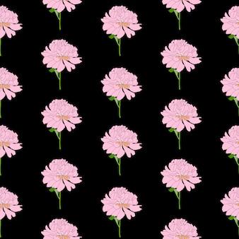 抽象的な手描きの牡丹の花のシームレスなパターン背景。図