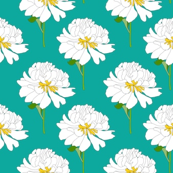 抽象的な手描きの牡丹の花のシームレスなパターン背景。ベクトルイラスト