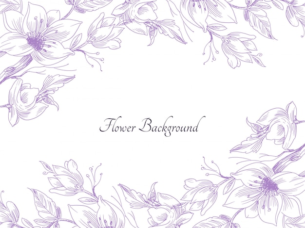 Abstract hand drawn purple flower decorative background