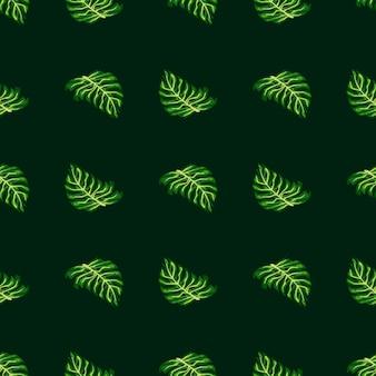 緑のモンステラの葉のプリントで抽象的な手描きのシームレスなパターン。暗い背景。季節のテキスタイルプリント、ファブリック、バナー、背景、壁紙のベクトルイラスト。