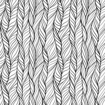 波線と三つ編みの抽象的な手描きのシームレスなパターン。カーリーストライプ、エンドレスニット生地プリントで華やかな落書きモノクロのタイル