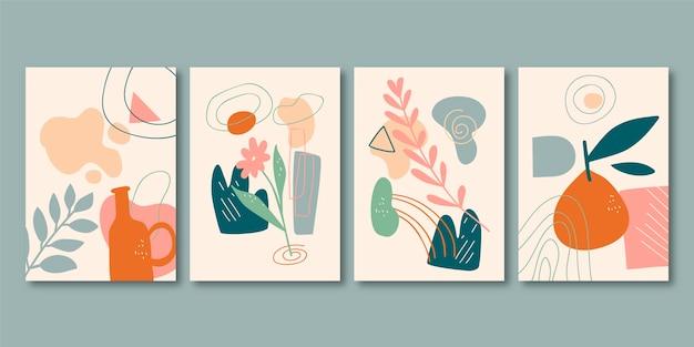 抽象的な手描きの形状カバーコレクション