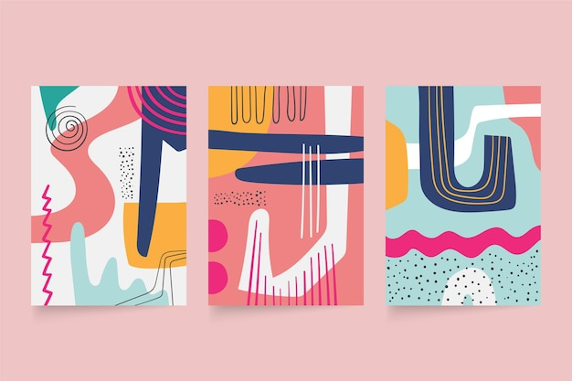 Abstract hand drawn shapes covers collection